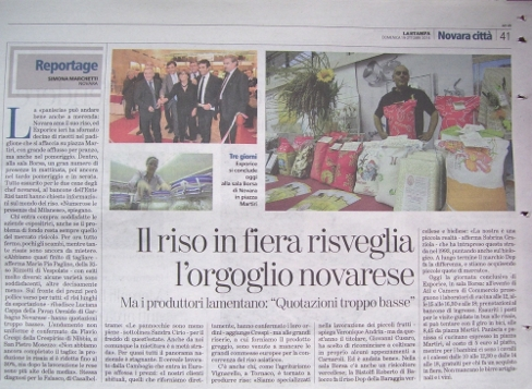 LA STAMPA newspaper, CRESPIRISO interview in the reportage of EXPORICE FAIR 2014